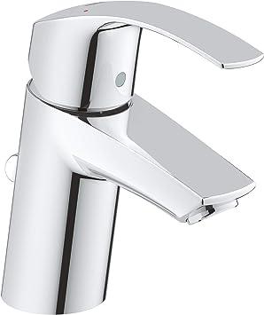 Grohe Eurosmart - Grifo de lavabo con vaciador automático, caño estándar, tecnología Grohe SilkMove, tecnología Grohe EcoJoy (Ref. 33265002)