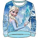 Disney Frozen Elsa The Snow Queen Girls Knit Sweater Pullover - Light Blue 6X