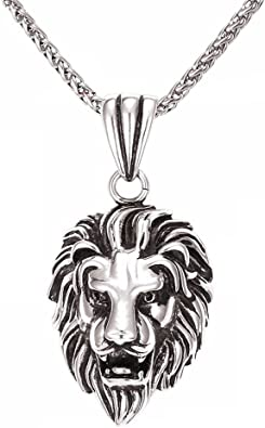 Necklace for Men Hiphop Rock Animal Stainless Steel Lion Head Gold Color Chain Necklace Pendant For Men Fashion Male Jewelry