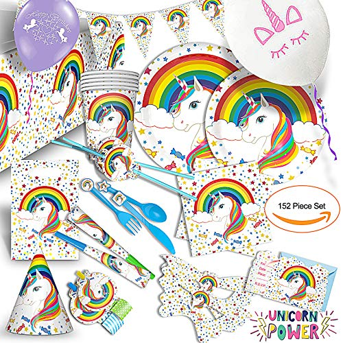 Unicorn Theme Party Supplies Set  Extra Value 152 Pcs - For the Perfect, Magical Birthday Party, Baby Shower & More. Invites, Tablecloth, Place Setting for 10. Decoration,Toys and Bonus Balloons.
