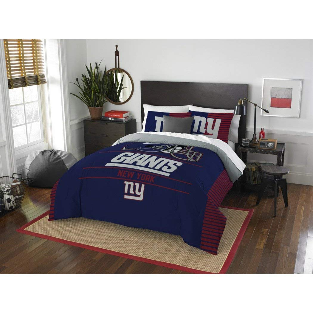 3 Piece NFL New York Giants Comforter Full Queen Set, Sports Patterned Bedding, Featuring Team Logo, Fan Merchandise, Team Spirit, Football Themed, National Football League, Blue, Red, For Unisex