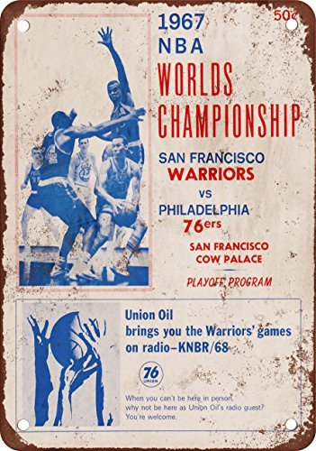 1967 Pro Basketball Championship 76ers vs. Warriors Vintage Look Reproduction Metal Tin Sign 7X10 Inches