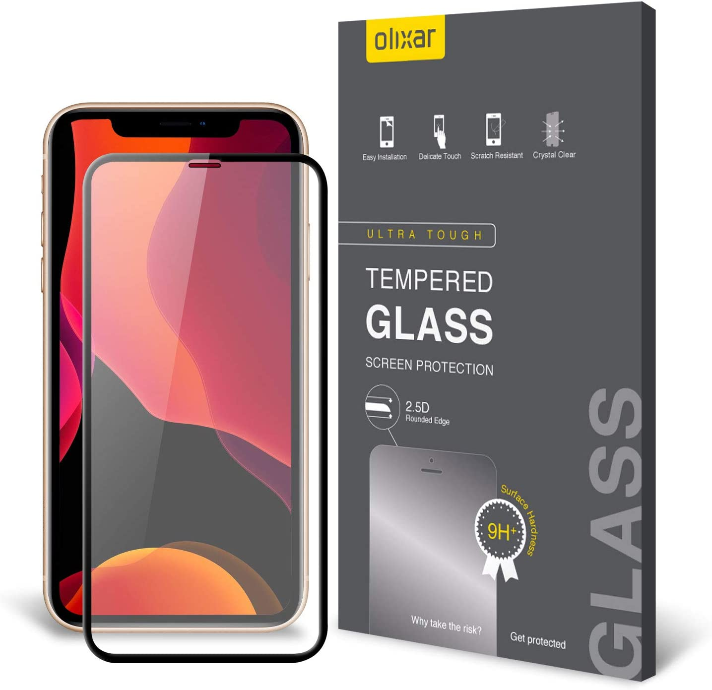 Olixar Screen Protector for Apple iPhone 11 Pro, Tempered Glass - Shock Proof, Anti-Scratch, Anti-Shatter, Bubble Free, Clear HD Clarity Full Coverage Case Friendly - Easy Application