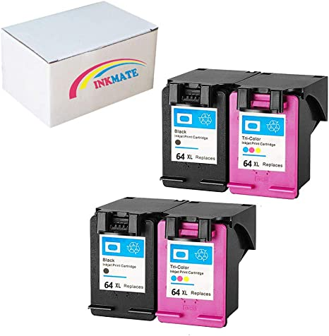 Amazon.com: INKMATE 4 Pack de recambio para HP 64XL cartucho ...