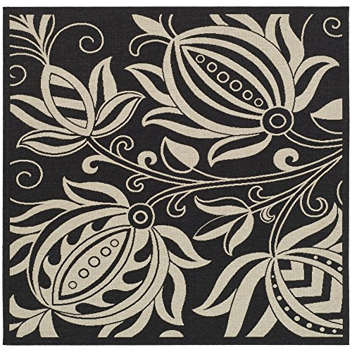 Safavieh Courtyard Collection CY2961-3908 Black and Sand Indoor/ Outdoor Square Area Rug (6'7
