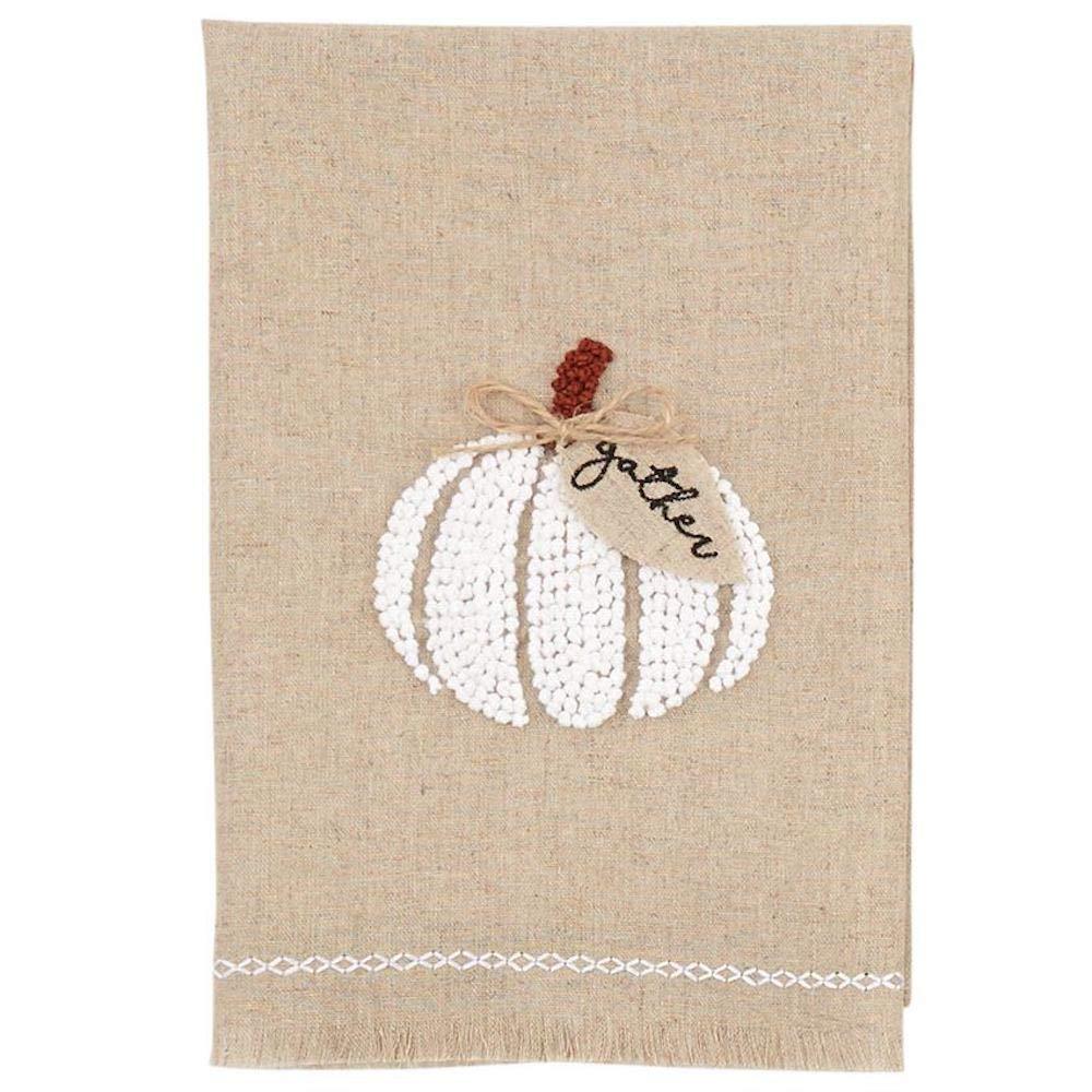 Mudd Pie Gather Pumpkin Fall Themed Linen French Knot Towel