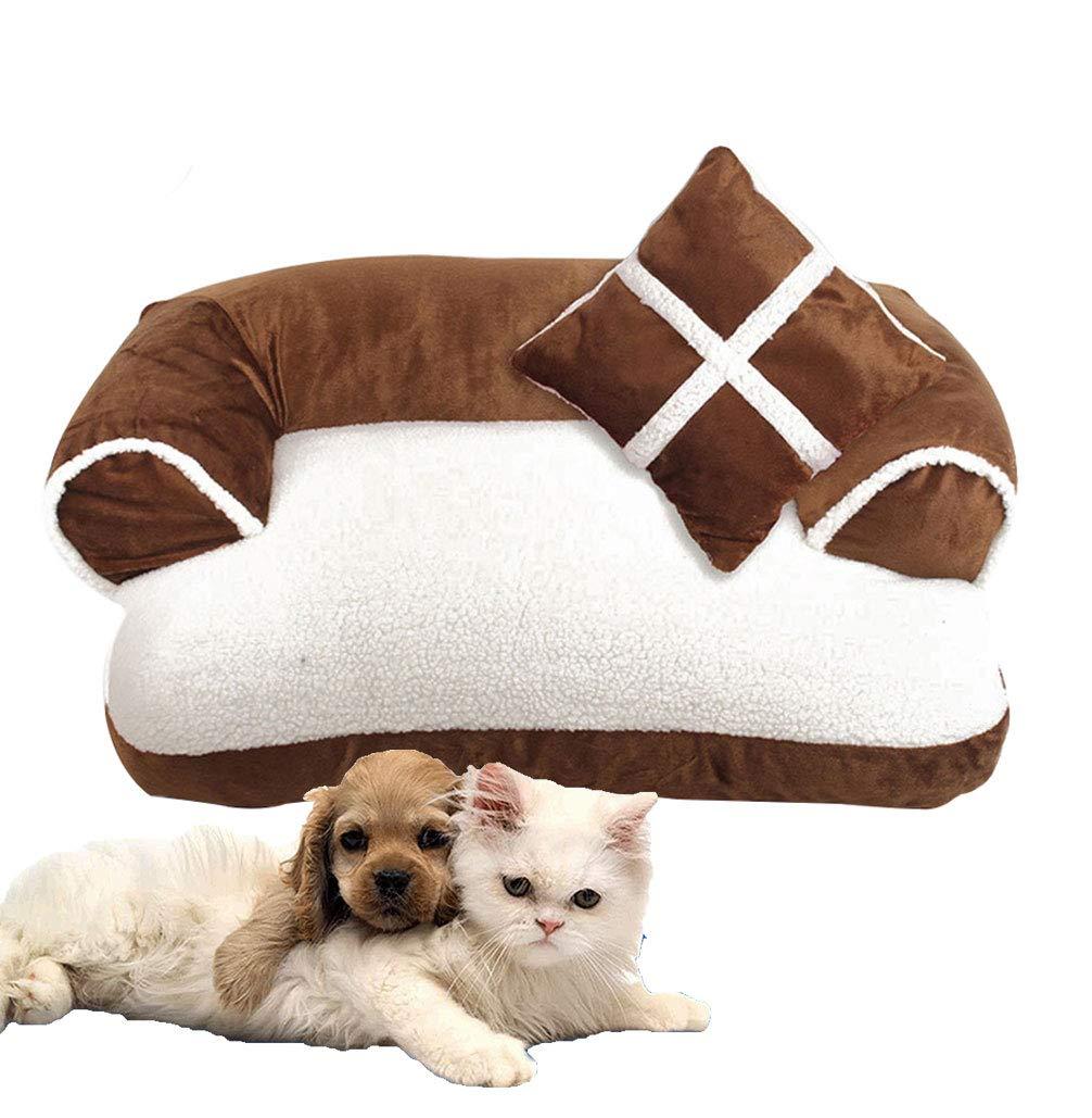 LA VIE Cama Sofá para Mascotas Lavable Extraíble con Almohada Colchoneta Cama Nido Suave Acogedor para Perros Pet Dog Bed L en Marrón