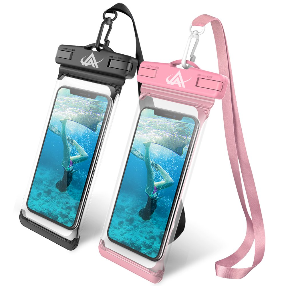 LKJ Universal Waterproof Case, Waterproof Phone Pouch Dry Bag Compatible with iPhone Xs/XR/XS Max/8/7/7 Plus/6S/6/6S Plus, Samsung Galaxy S9/S9 Plus/S8/S8 Plus/Note 8 6 5 4,HTC-[2 Pack] by LKJ