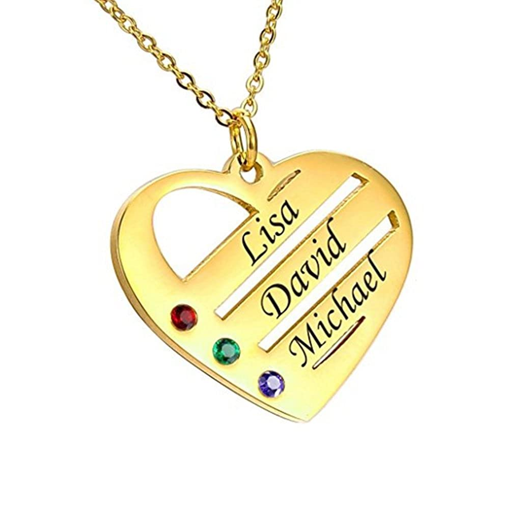 LAOFU Personalized Family Necklace Birthstones Heart Necklace Custom Made with Any Names