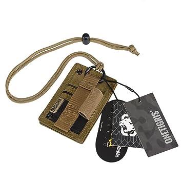 OneTigris - Táctica funda para insignia, tarjeta identificativa, DNI, con correa