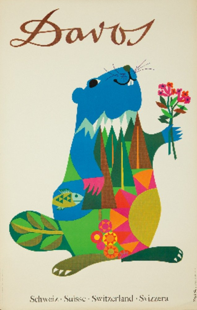 Davosヴィンテージポスター(アーティスト: Brun )スイスC。1950 24 x 36 Giclee Print LANT-61220-24x36 24 x 36 Giclee Print  B017ZKYRS8