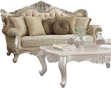 Amazon.com: Benjara Benzara Wooden Sofa With Beautiful Detailed Carvings, Beige: Furniture & Decor