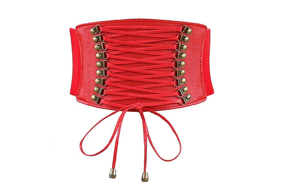 Aiklin Women's PU Leather Belt Corset Elastic Belt Corsets for Waist (Black)