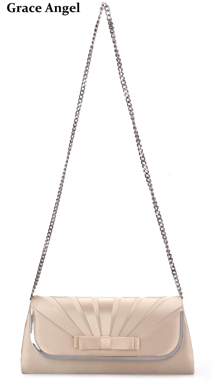 Grace Angel Large Satin Bow Front Evening Handbag Flap Clutch Bag With Crossbody Chain Strap GA16678