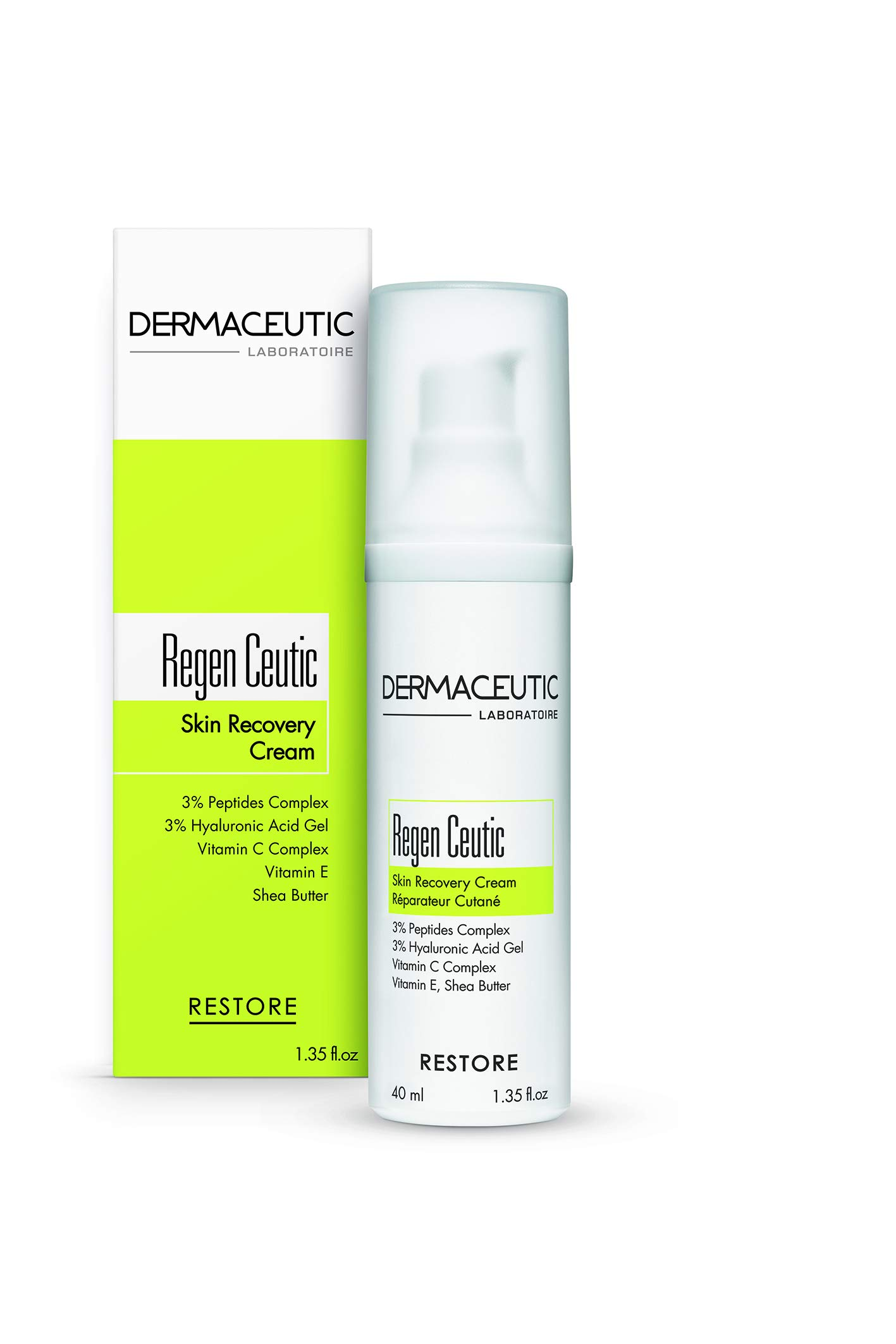 Dermaceutic Regen Ceutic - Skin Recovery Cream for sensitive and dehydrated skin - Skin repair cream with Hyaluronic acid, Peptides, Vitamin C and E and Shea butter - 40ml
