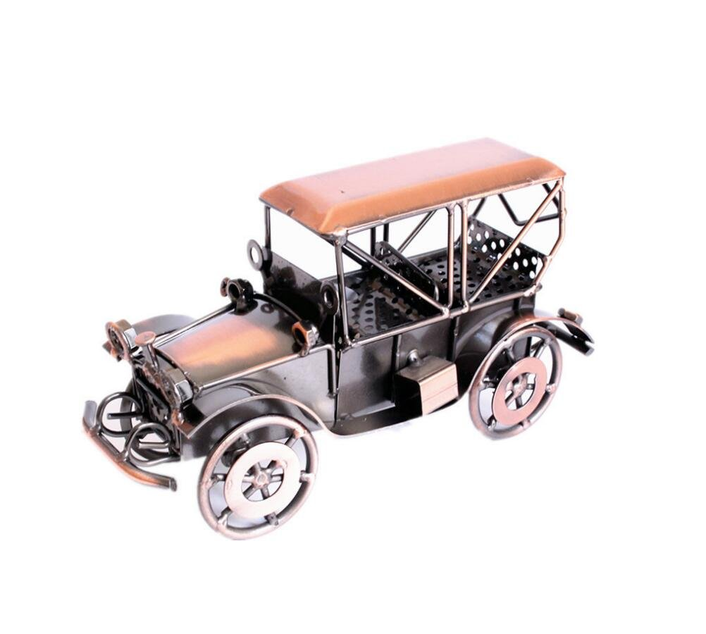 lanbing Handmade Wrought Iron Classic Car Model Collectible Art Sculpture Car For Home Decor Creative Desk Table Decoration Ornaments Car Lovers Kids Toys Gifts (C1)