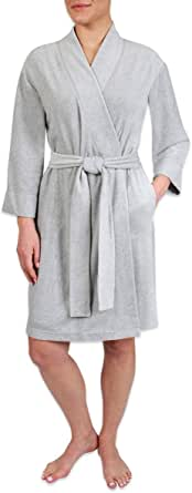 Heavenly Bodies Luxe Fleece Robe, Ultra Soft Short Lightweight Travel Wrap with Pockets and Sewn in No Slip Belt