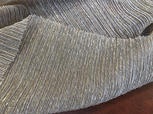 BLACK/SILVER/GOLD PLEATED METALLIC TREAD KNITTED SHEER FABRIC-SOLD BY THE YARD.