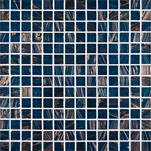 Tray Kit Tile (M S International Blue Iridescent Glass 12 In. X 4 mm Glass Mesh-Mounted Mosaic Tile, (20 sq. ft., 20 pieces per case))