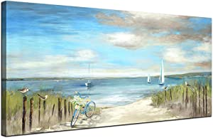 Large Beach Themed Wall Art Painting Canvas Artwork Decor for Bedroom Living Room Home Office Decoration Seascape Picture with Frames 24x48