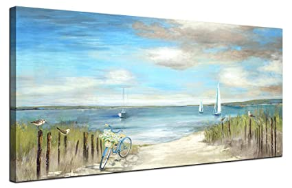 b9419aa8b3a Image Unavailable. Image not available for. Color  Beach Themed Wall Art  Painting Canvas Artwork Decor ...