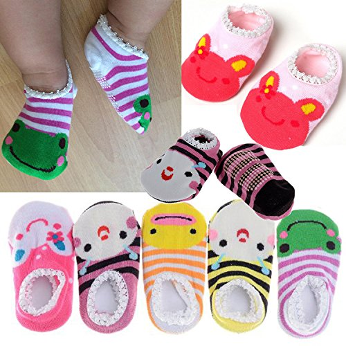 Pinksee Baby Infant Girls 5 Pairs Cotton Animal Stripes Anti Slip Booties Socks 0-18 (Animal Booties)
