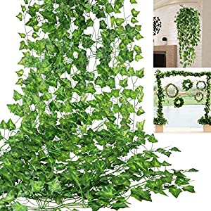 TIANXIN Artificial Plants Ivy Garland, 82 Ft-12 Pack Artificial Ivy Leaf Garland Plants Vine Hanging Wedding Garland Fake Foliage Flowers Home Kitchen Garden Office Wedding Wall Decor 2