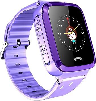 KAIXIANG - Reloj Inteligente para niños con localizador GPS, Tarjeta SIM, antipérdida, Compatible con Android iOS, Pantalla táctil, cámara de Chat con Voz, Resistente al Agua: Amazon.es: Electrónica