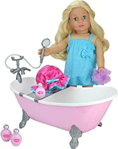 18 Inch Doll Bathtub, Doll Accessories & Doll Outfit with Shower, Pink Clawfoot Tub , Fits American Dolls, Plush Animals & More! 18 Inch Doll Furniture Bathtub in Pink for Your Favorite Girl Doll