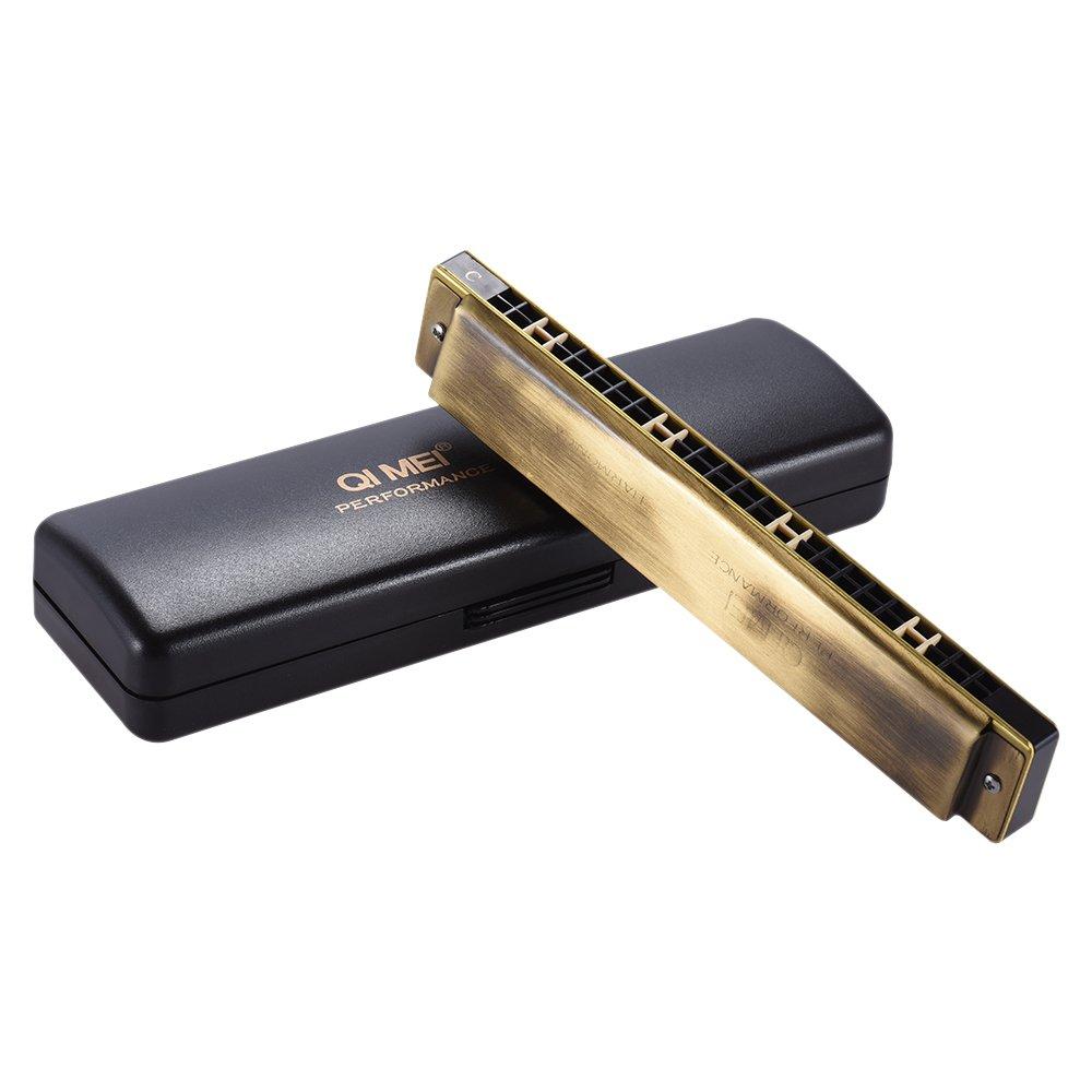 ammoon 24 Holes Harmonica Tremolo Mouth Organ Key of C Professional Performance with Box