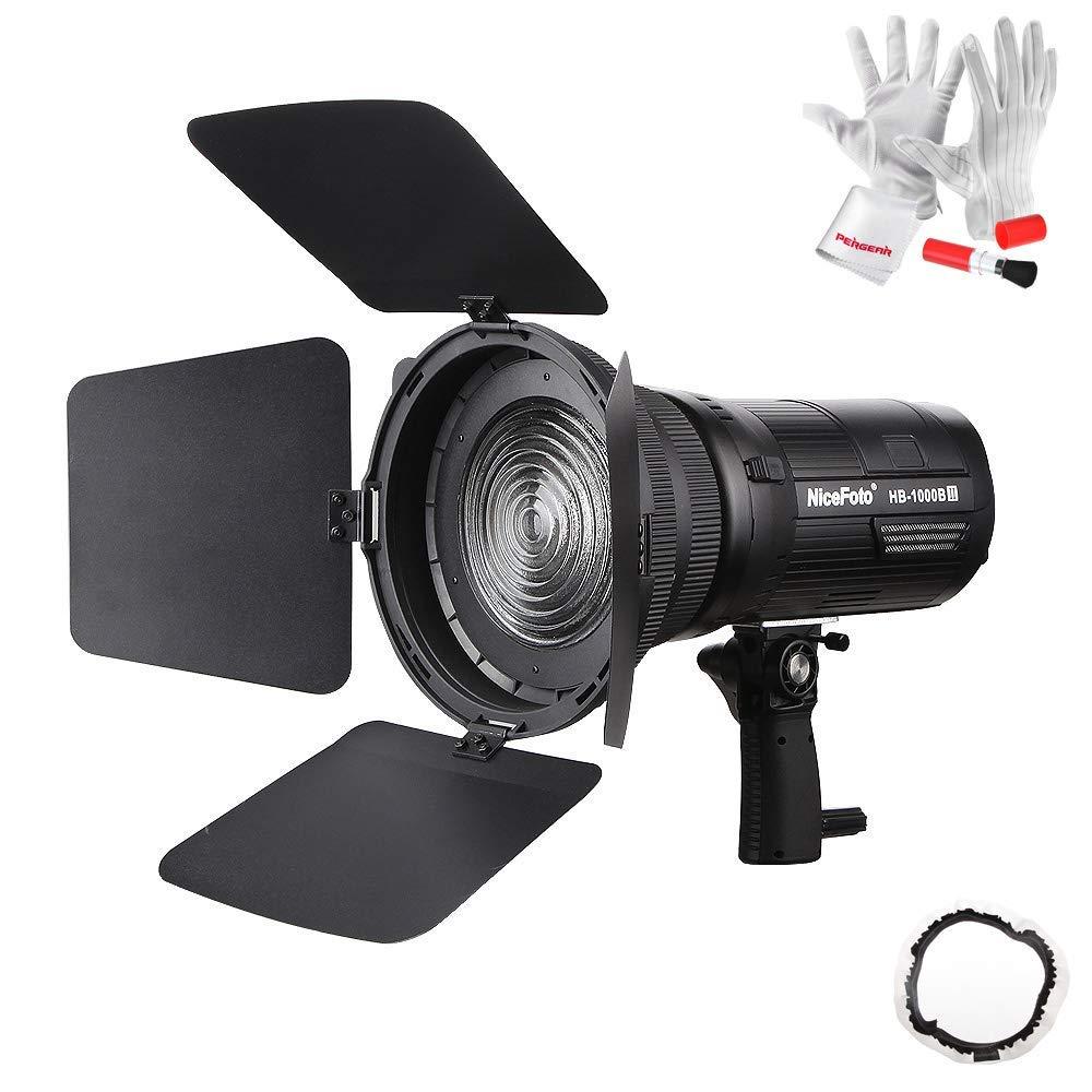 Nicefoto HB-1000B II LEDビデオライトセットFresnelレンズ バーンドア同梱   B07RF5LN7W