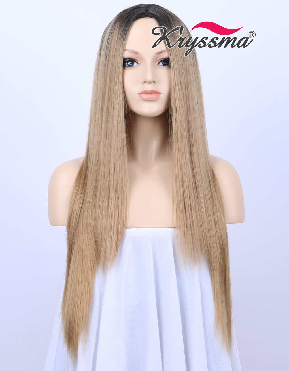 K'ryssma Black Rooted Honey Blonde Wig Natural Looking Middle Part Ombre Synthetic Wigs for Women Long Silky Straight Cheap Hair Replacement 22 inches K' ryssma