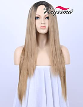 K ryssma Black Rooted Honey Blonde Wig Natural Looking Middle Part Ombre  Synthetic Wigs for 6a3925bc08