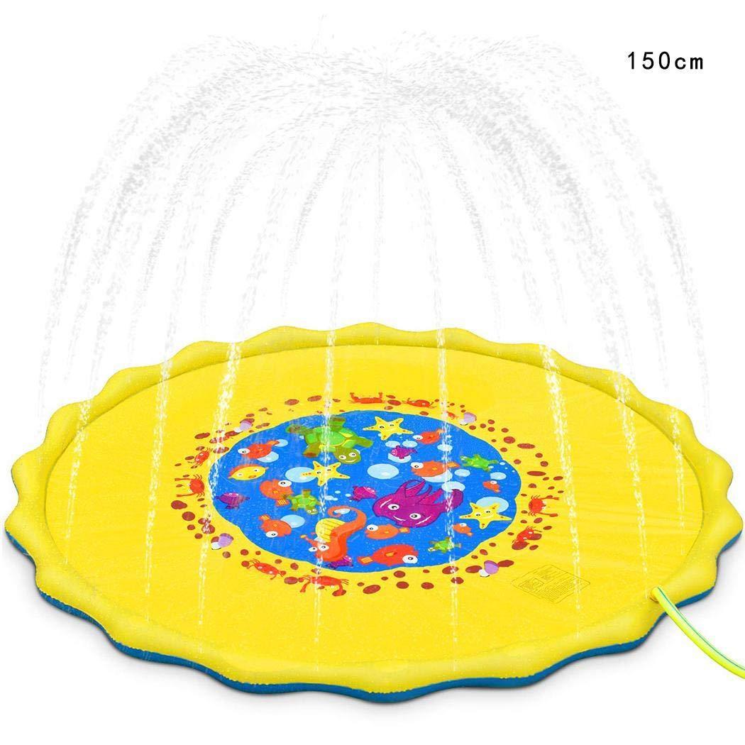 gensit Wasserpuffer Sprinkler Pad Spielmatte Wasser aufblasbare Pool im Freien PVC Wasser und Strand Spiele für Kinder im Freien Spielen Babys Gelb 150cm