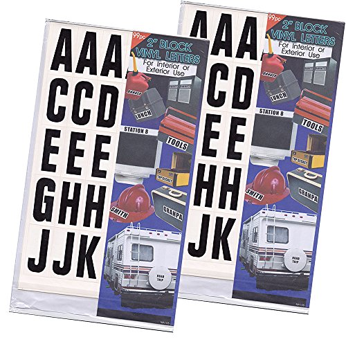 2 set of 99-Pcs 2-inch Vinyl Sticker Letters Numbers Self Adhesive Block Indoor & Outdoor Use, Water Resistant Decals, For lettering, label signs, posters, equipment ID (Self Sticking Letters)
