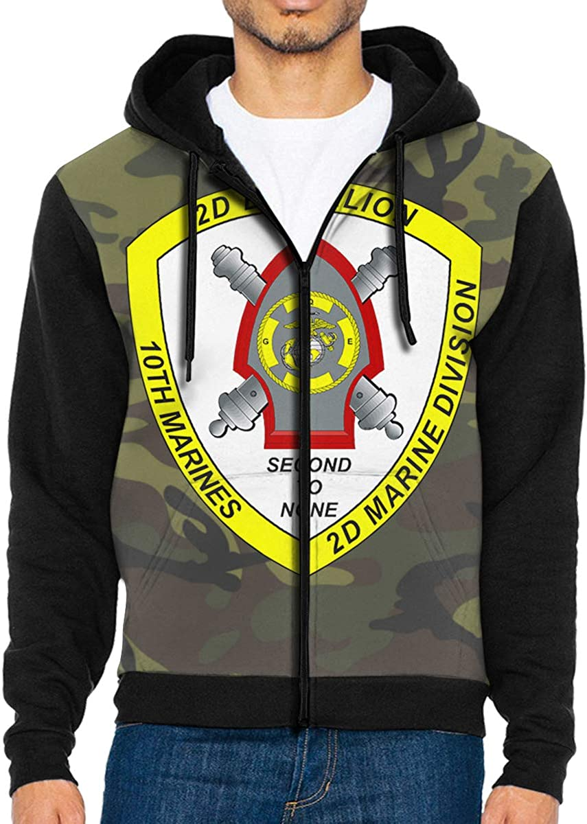 HUIHUANGm 2nd Battalion 10th Marines Mens Full-Zip Hooded Sweatshirt Pullover Hoodie Casual Hoodie with Pockets