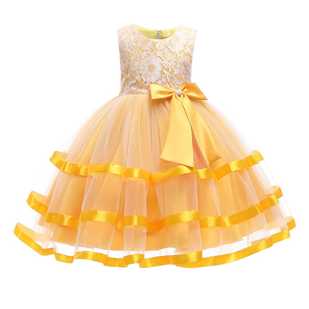 Princess Lace Tutu Dress for Girls Kids Wedding Pageant Bridesmaid Photoshoot Formal Gown Bowknot Tulle Swing Dress (Yellow, 130) by pengchengxinmiao