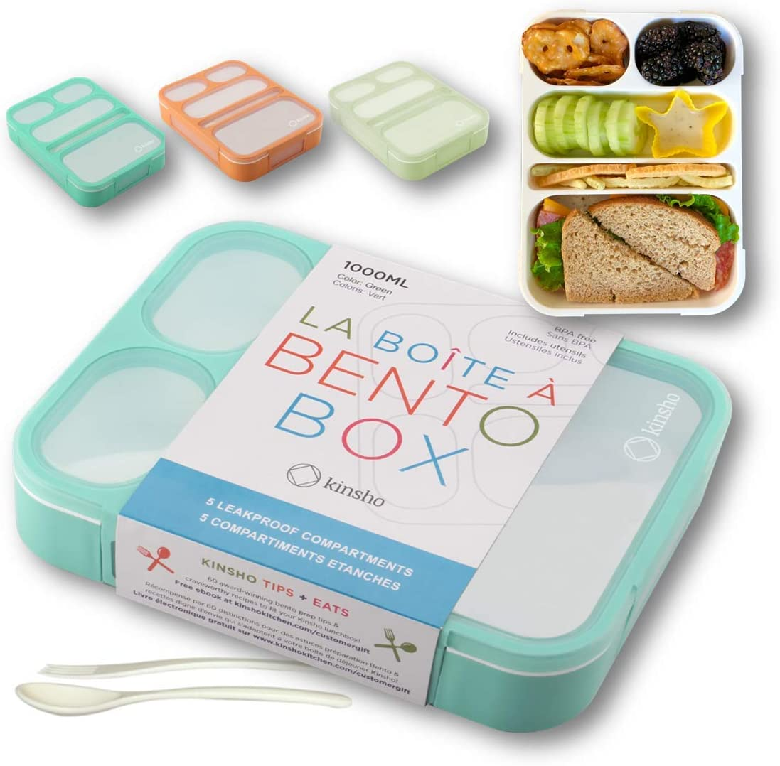 Bento Lunch-Box for Adults Kids Lunches, Portion Control Container Boxes for Women Girls Boys | Leak-proof Snack Containers for Toddlers Pre-School Daycare BPA-Free Utensils | Green, 5 Compartments