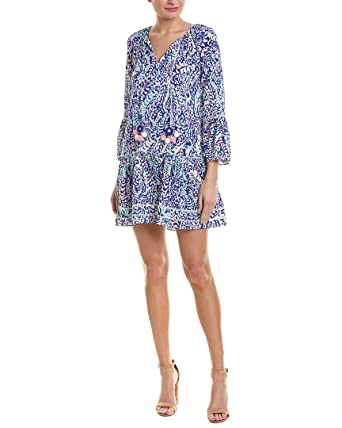 ab560511236 Lilly Pulitzer Women's Percilla Tunic Dress Blue Grotto Move It Or Lose It  Small at Amazon Women's Clothing store: