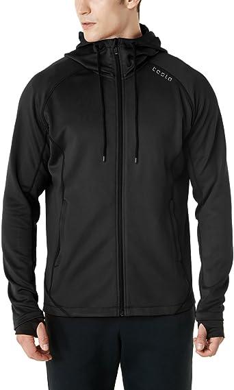 Amazon.com : TSLA Men's Full Zip Up Hoodie Jacket, Long Sleeve Performance  Training Hoodie, Lightweight Workout Running Track Jackets : Clothing
