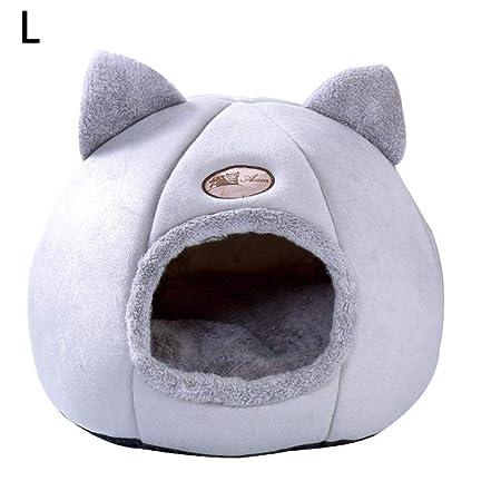 SOWLFE Cama para Mascotas, Linda Forma de Oreja de Gato Mascotas Perros Gatos Nido Suave Felpa Gato Cueva Gato Perro Dormir Camas cálidas de la casa ...
