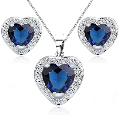 Heart Blue Simulated Sapphire Zirconia Crystals Set Pendant Necklace 18