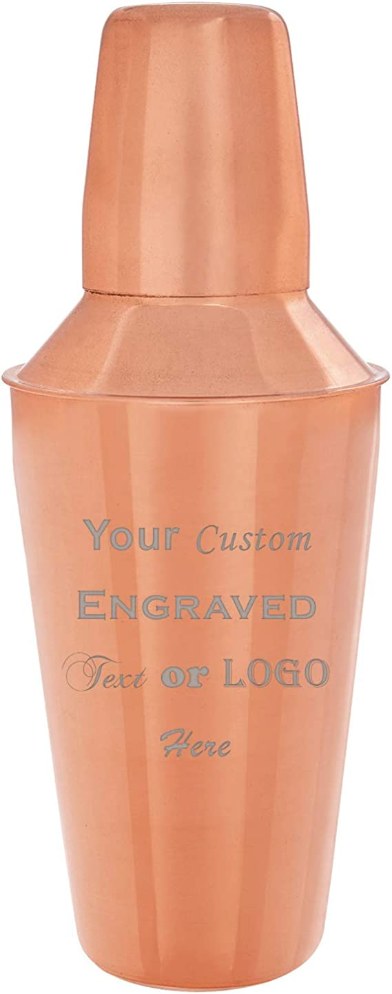 Personalised Engraved Cocktail Shaker with Strainer and Gin Balloon Glass,