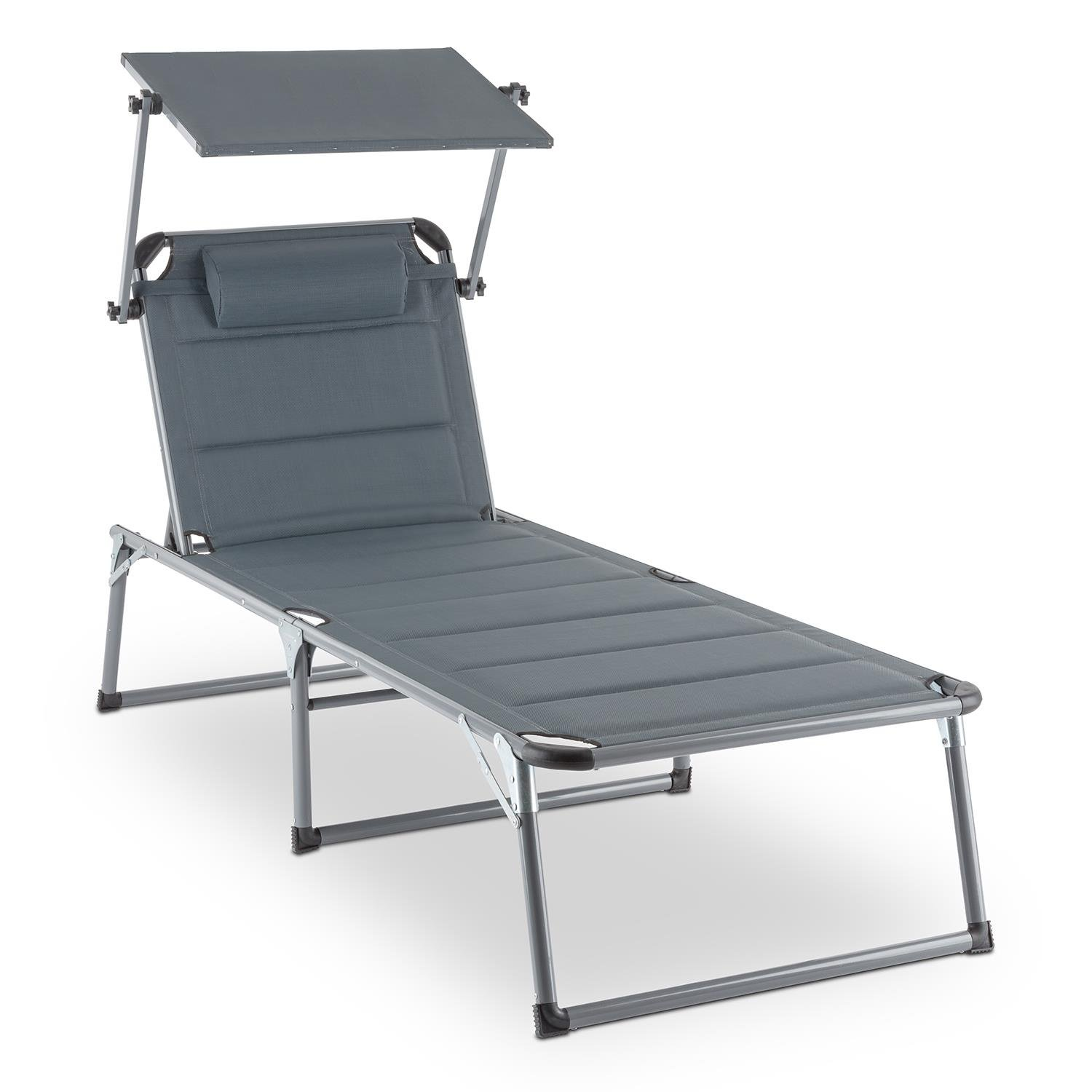 BLUMFELDT Amalfi • Outdoor Portable Folding Lounge Chair • 5 Reclining Positions • Sunshade • Adjustable Pillow • Resistant Polyester Cover • Noble Grey by Blumfeldt