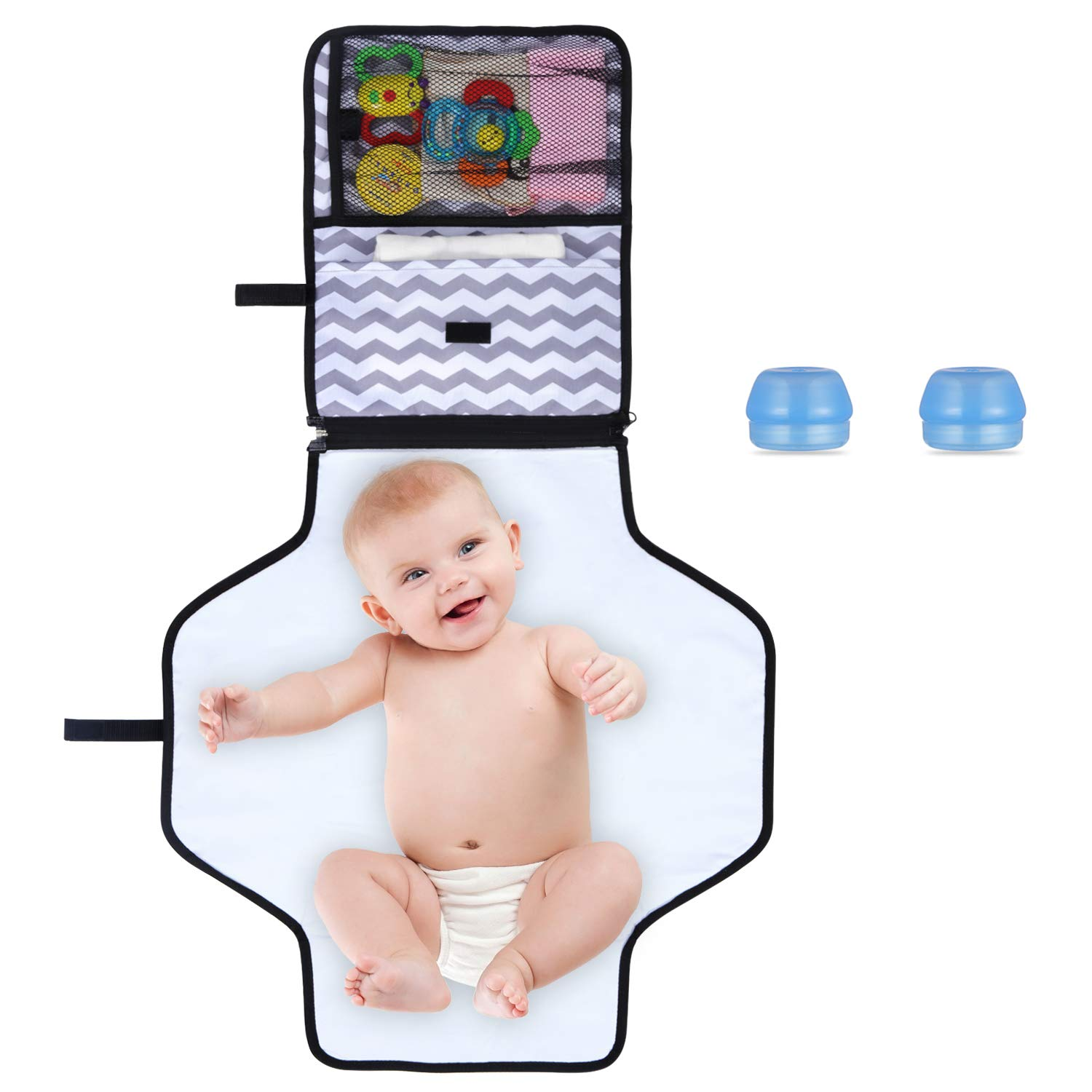 Waterproof Diaper Changing Pad Portable Nappy Changing Mat Best Gift for Mom of Newborn Boys Girls Foldable Infant Urinal Pad Baby Changing Kit for Home Travel Outside Gray Stripe