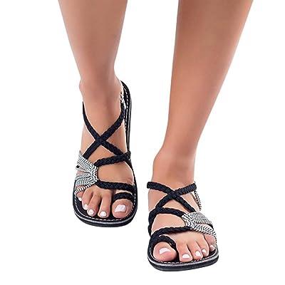 Sandalias Mujer Verano ❣JiaMeng Chanclas Sandalias Tejidas Correa Moda Playa Zapatillas