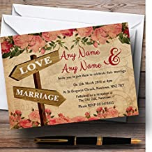 Rustic Pink Roses Signpost Shabby Chic Vintage Personalized Wedding Invitations