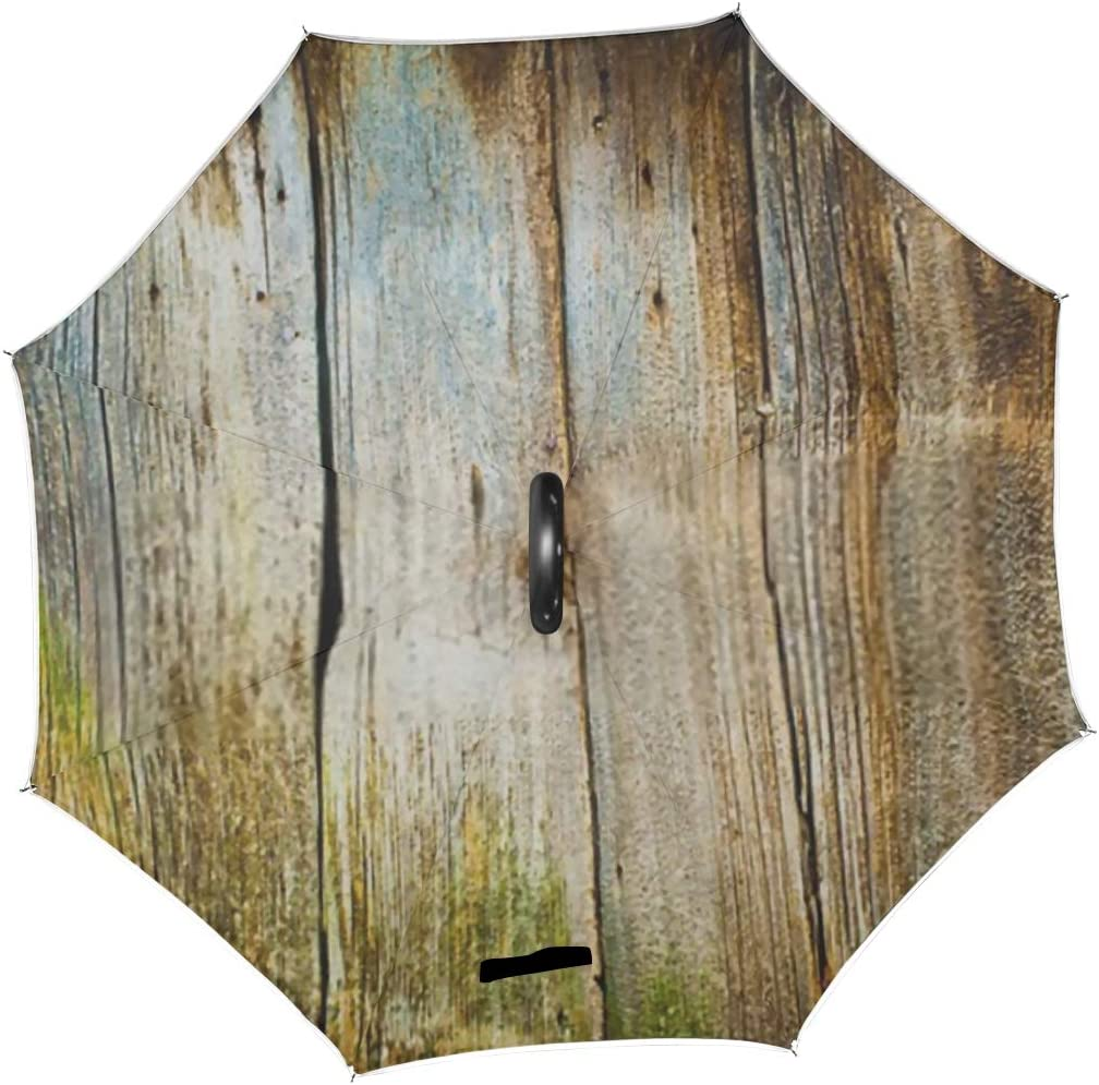 Double Layer Inverted Inverted Umbrella Is Light And Sturdy Closeup Old Wood Planks Texture Background Reverse Umbrella And Windproof Umbrella Edge N