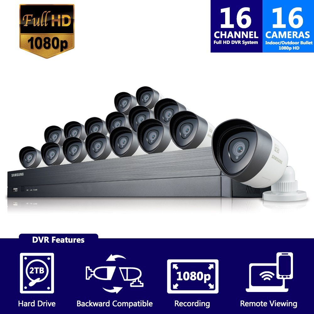 Samsung Wisenet SDH-C75100-16 ecurity Video Camera System Complete Surveillance System, Black & White