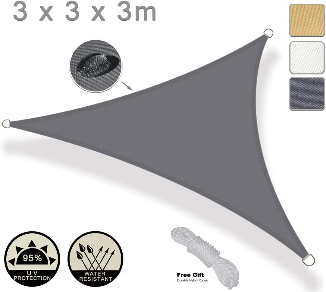 Parasole e Protezione Raggi UV Colore Grigio Chiaro Cortile Giardino AXT SHADE Tenda a Vela Impermeabile Quadrato 2 x 2m per Esterni